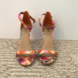 MOSSIMO floral ankle strap heels